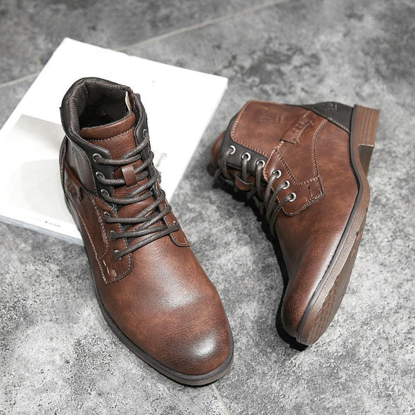 Large Size Men  Leather Slip Resistant Casual Boots