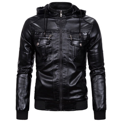 Casual Zipper Hooded men PU Leather Jackets