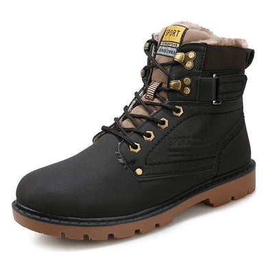 Winter Men's Lace-up Tooling Shoes High-top Outdoor Plus Velvet Cotton boots