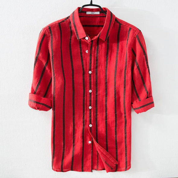 Manswear Striped Cotton Half Sleeve Casual Shirt