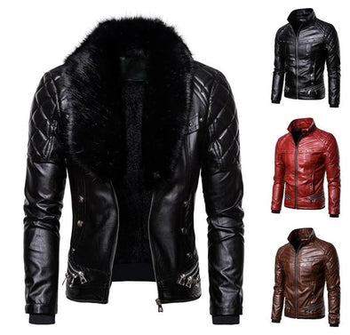 Detachable Fur Collar Windbreaker Leather Jacket