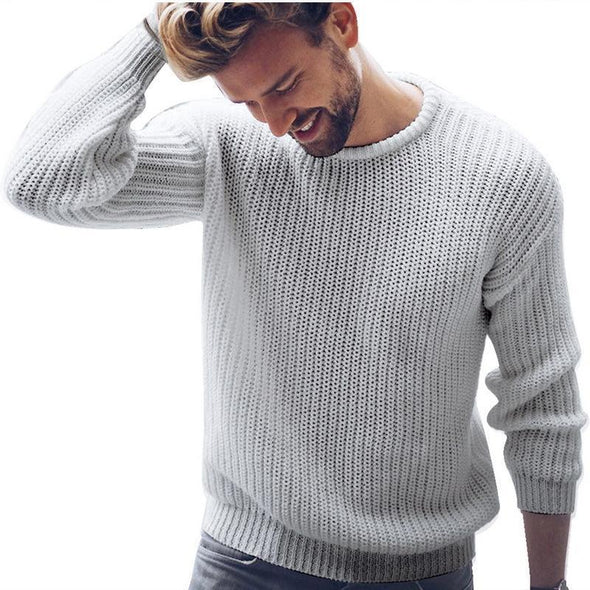 Mens Autumn Winter New Pullover Solid Knit Sweater