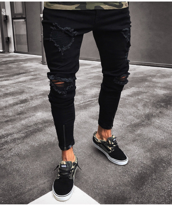 Slim Denim Cool Designer Brand Black Jeans