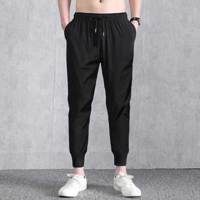 Mens Summer Breathable  Drawstring Solid Color Casual Pants