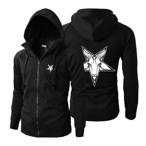 Pentagram Baphomet Coat Head skull Satanic Stand Collar Zipper Hoodie