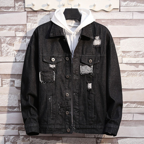 Men's Casual  Hole Fashion Plus Size Denim Jacket