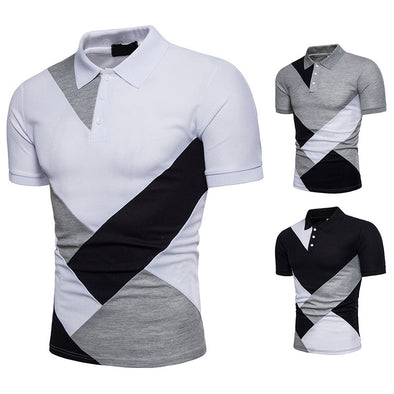 2020 Men's Casual Cotton Short-Sleeve Polo Splice Clothing