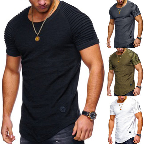 Men's O-neck Slim Solid Color Striped Pleated Raglan Sleeve Short Sleeve Tshirt