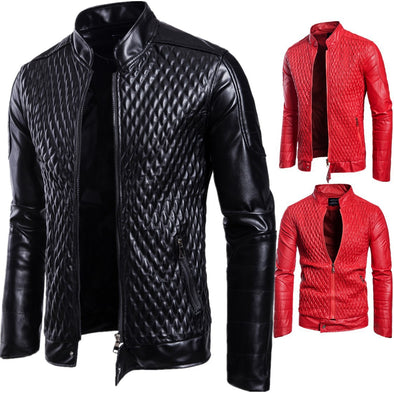 Men's Stand Collar Zipper Pure Color Leather Jacket