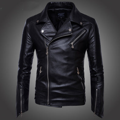 Men's  Locomotive multi-zipper Leather Jacket