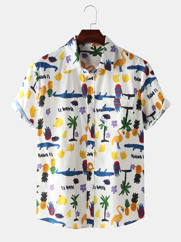 Men's Cotton Printed Short Sleeve Shirt