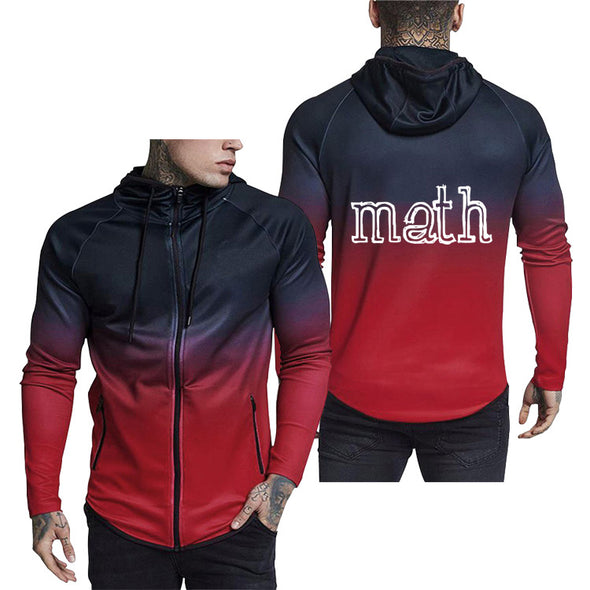 Men's Zipper Casual Sweatshirt Letter Hoddies
