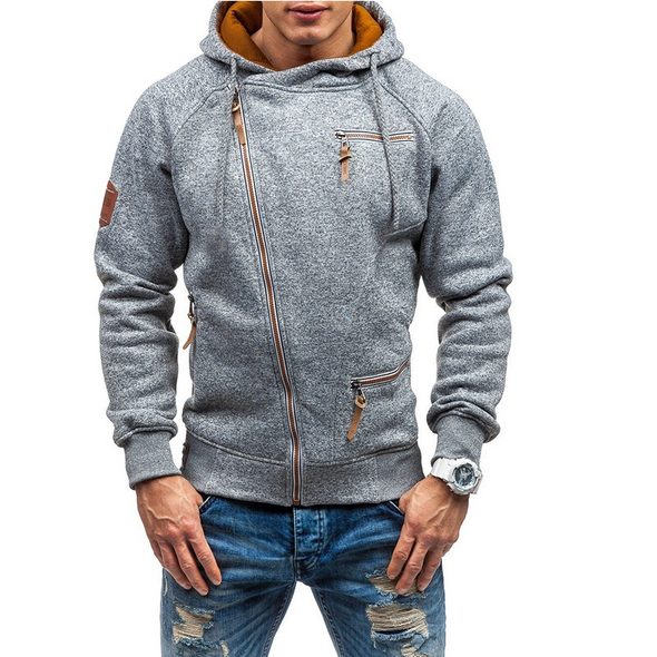Men's Solid Color Zipper Hoodies