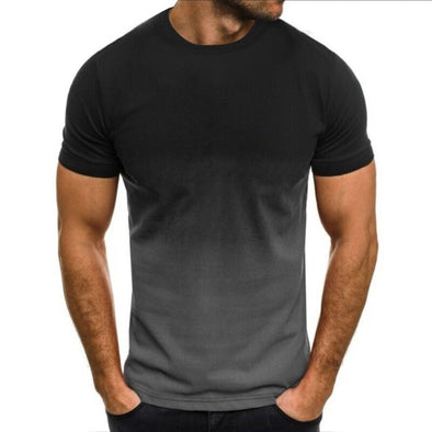 Men's Gradient-color Breathable Sportswear Formal US Size O-neck Shirt