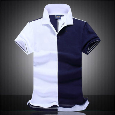 Men New Fashion Block Color  Casual Polo T-shirt