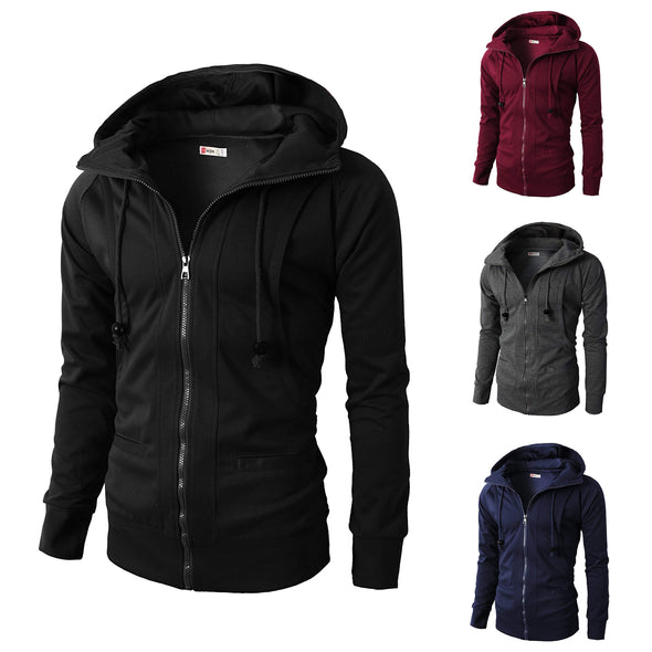 Men Hoodies Sweatshirts Casual Coat Hooded Cardigan Plus