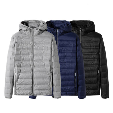 Men's Winter Loose Solid Hooded Down Jacket