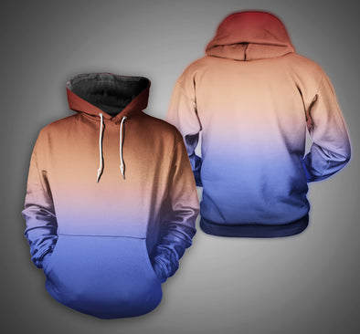 New Men Fashion 3D Gradient Color Casual Hoodies