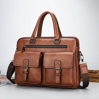 Men's Fashion Leather Casual Business Work Bag