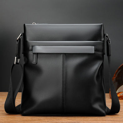 Men's PU Casual Solid Color Shoulder Bag