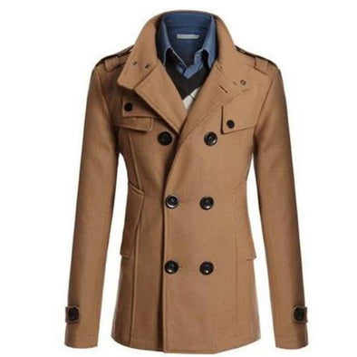 New Korean Men's Slim Mid-Length Woolen Trench Coat