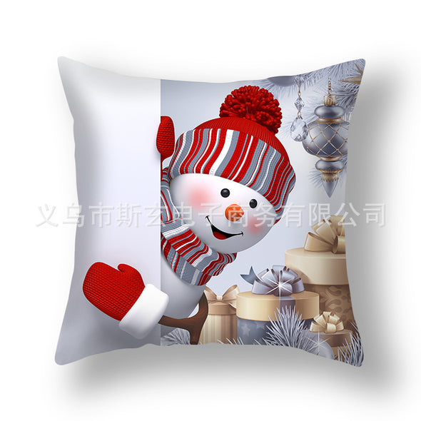 Cushion Cover 3PCS Christmas Party Decoration Gift Linen Soft Decorative