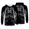 Men Fashion 3D Pattern Printing Casual Black Pullover Hoodies