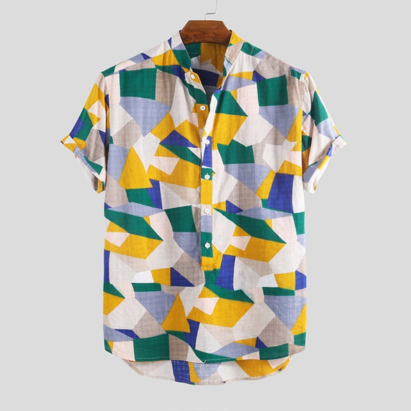 Summer Hit Color Stand Collar Short Sleeve Shirts
