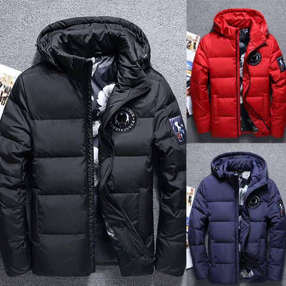 Winter Jacket Men White Duck Down Outwear Coat Parka Warm Overcoat