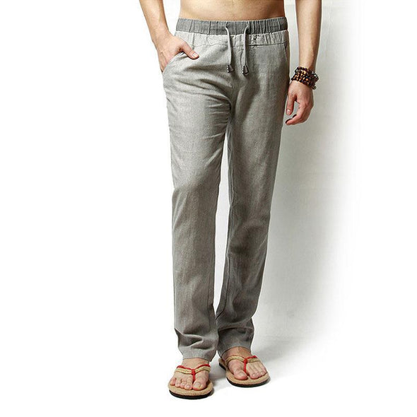 Spring Summer Mens Linen Solid Color Loose Leisure Pants
