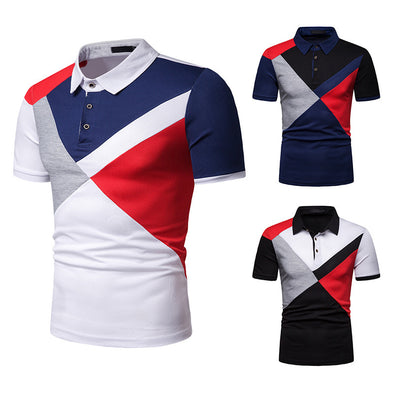 Men's Summer Cotton Casual  Splice Polo Shirt