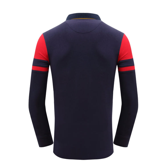 Contrast Color Men's Long Sleeve Polo Shirt