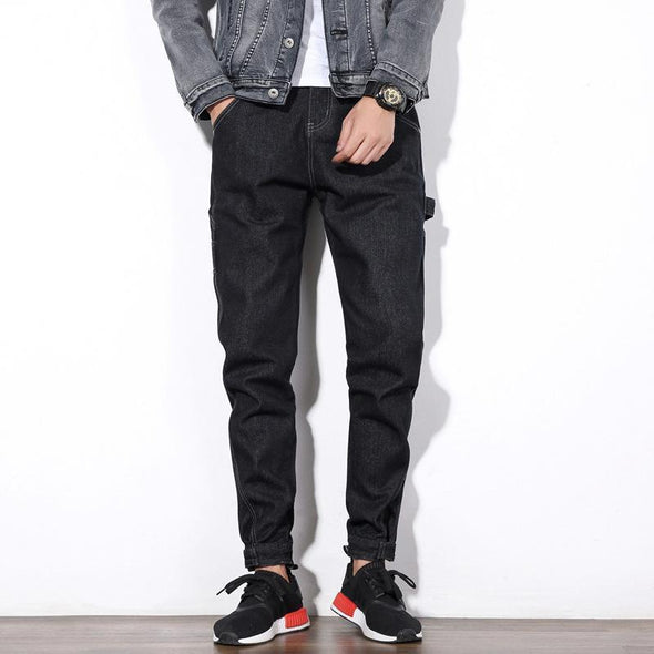 Wash Black Skinny Cuffed  Jeans For Men