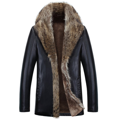 Men Winter Thicken PU  Fur Faux Leather Jackets Coat