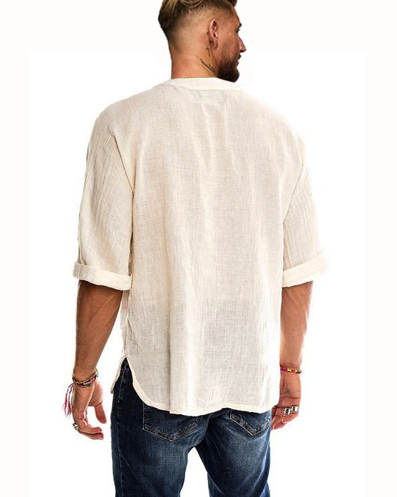Men's V-neck Cotton Casual Bandage Fashion T shirt