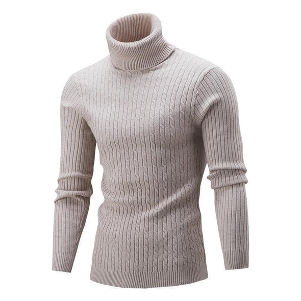 Mens Slim Kintted Long Sleeve Turtleneck Pinstriped Pullover Sweater