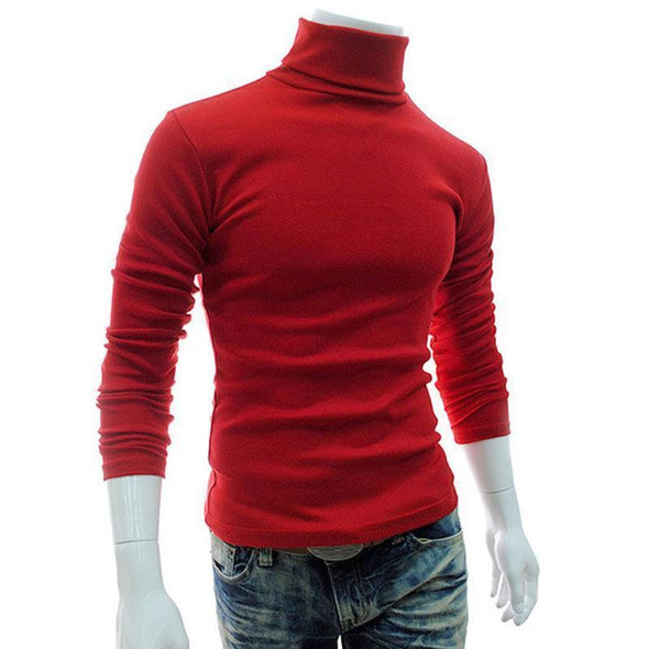 Men's Winter Warm High Neck Pullover Jumper Sweater