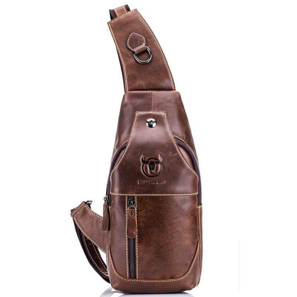 Genuine Leather Large Size Single-shoulder Crossbody Bag For Men