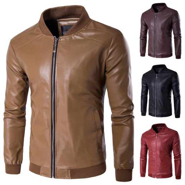 Men's Slim Trend Casual Leather Jacket
