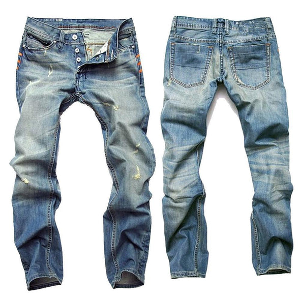 Casual Ripped Fold Stitching Straight Washed Jeans For Men