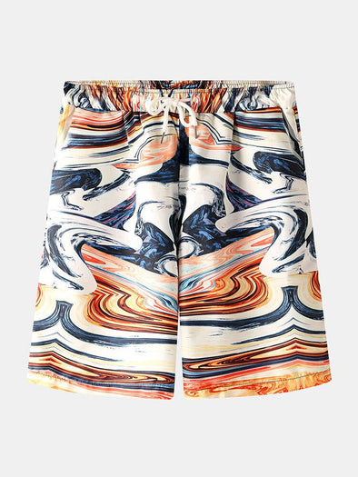 Men Chinese Style Printed Pocket Drawstring Casual Beach Shorts