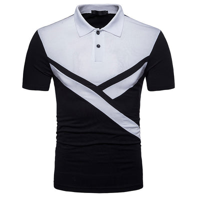 Men's Splice Polo Fashion Irregular Collar Sports Polo Shirt