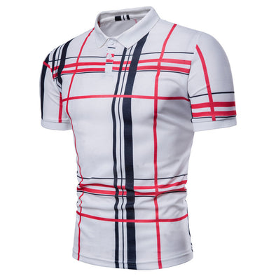Men's Fashion Lattice Printing Collar Casual Polo