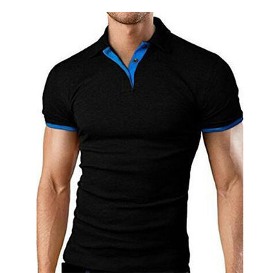 Men's Short Sleeve Solid Color Casual Fashion Stitching Polo Shirt
