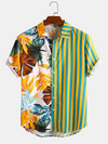 Men Plant & Leaf Striped Patchwork Casual Holiday Curved Hem Shirt