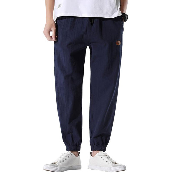 Mens Solid Color Cotton Linen Casual Baggy Loose Drawstring Harem Pants