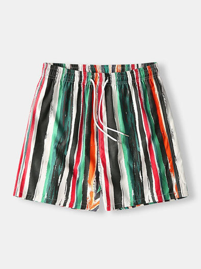 Men Graffiti Stripe Swim Trunks Casual Lightweight Mid Length Shorts with Pockets