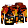 Halloween Funny Horror Cartoon Pumpkin Skull Print Hoodies