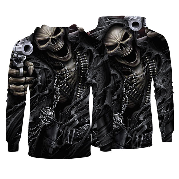 Men Hoodies Top Pullover Sweatshirt Hoodies Print Skull Picture Clothing