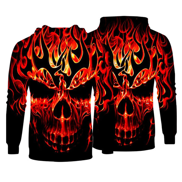 Men Hoodies Top Pullover Sweatshirt Hoodies Print Skull Pattern Clothing-3